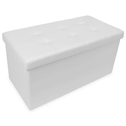 OOTORI Folding Storage Ottoman Bench, Faux Leather Footrest Seat Bench with Highly Elastic Sponge Filling 30