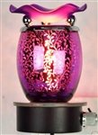 Variation Color Leaves Design Decorative Glass Electric Plug-in Fragrance Lamp Aromatherapy Oil Warmer/burner Night Light in Gift Box # Mt-052 (Purple)