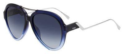- Fendi FF 0322/G/S ZX908 Sunglasses Blue Azure Frame Dark Blue Gradient Lens 58mm