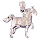 CleverEve 14K Yellow Gold Animal Kingdom Running Horse Pendant 4.2 Grams