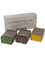 Calily Life Natural Luffa Soap Set Exfoliating Moisturizing Shower and Bath Soap Loofah Body Scrub Exfoliator - Lavender, Eucalyptus and Tea Tree Essential Oil Infused Soap with Natural Luffah sponge