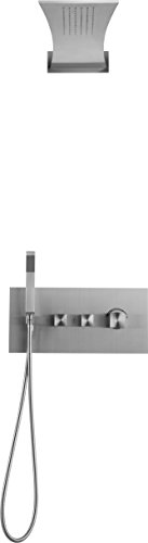 Boann BNSSR2F Shower System Recessed Mount 304 Stainless Steel (Brushed Stainless Steel) (Recessed Control Stainless Steel Panel)