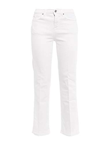 7 For All Mankind Femme SYRQ580MWWHITE Blanc Coton Jeans