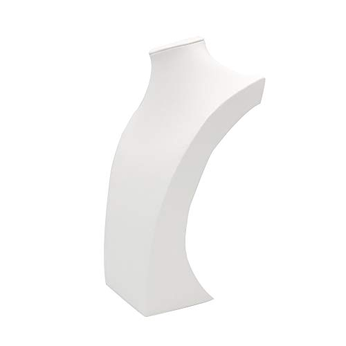 - White Leather Necklace Bust Jewelry Display Stand Figure Jewelry Display Stand (H15.2