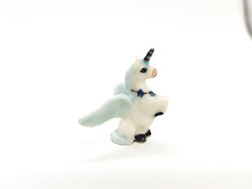 Mini Unicorn Horse Blue Ceramic Handmade Figurine Animals Miniature Decor Gifts ()