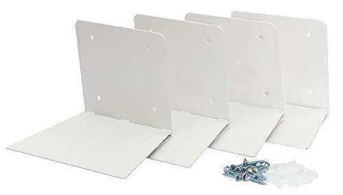 STORAGE MANIAC 4-Pack Large Rustless Invisible Floating Bookshelf, Heavy-duty Book Organizer, White (Bookshelves Thin)