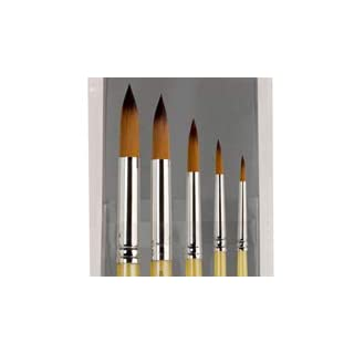 Creative Inspirations Dura-HandleArtist Paint Brushes Short Solid Resin Handle Resists Chips & Cracks - Round [Set of 5]
