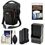 Vidpro TL-35 Top-Load DSLR Camera Holster Case (Large) with EN-EL15 Battery & Charger + Accessory Kit for Nikon D7100, D7200, D610, D810