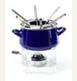 Chantal Enamel-On-Steel 2-Quart Classic Fondue Set, Cobalt Blue