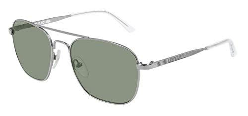 Balenciaga BB0037S Sunglasses 002 Ruthenium/Green Glass Lens 55 mm