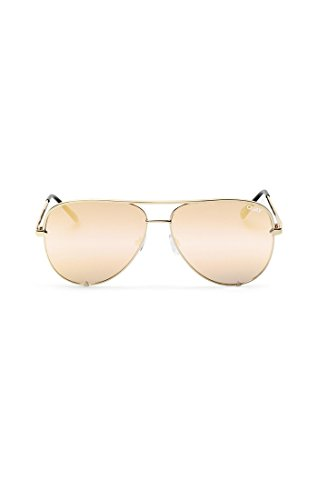Quay High Key Mirror Gold/Gold - Metal Framed Sunglasses