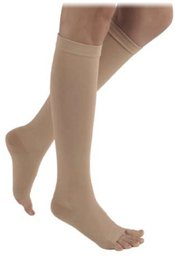 Right Waist Attachment Leg (500 Natural Rubber 40-50 mmHg Open Toe Unisex Thigh High Sock with Waist Attachment Size: M4, Leg: Right)