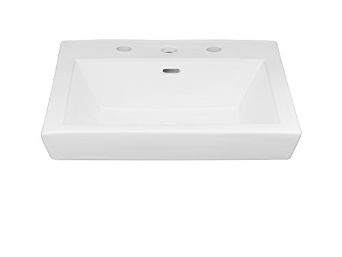 58 Caxton Undercounter Lavatory (RONBOW Rhombus 20 Inch Square Self-Rimming Above Counter Bathroom Vanity Vessel Sink with 8 Inch Widespread Faucet Hole in White 200480-8-WH)