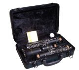Merano WD401BK-MM B Flat Black/Silver Clarinet with Case, Metro Tuner and Music Stand by Merano