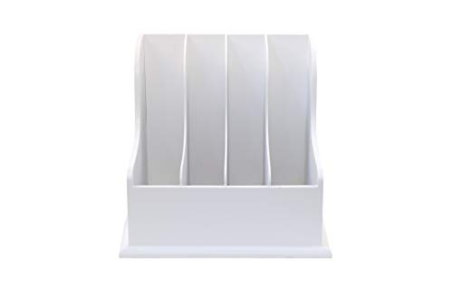 Wooden Vertical Desktop Organizer - Four Compartment White File, Document and Magazine Holder - for Home and Office for Easy Storage - by Designstyles (Magazine Organizer Wood)