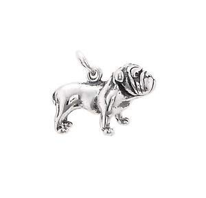 Sterling Silver Big Head Bulldog Bull Dog Charm Pendant (3D Charm) Jewerly Making Supply Bracelet DIY Crafting by Easy to be -