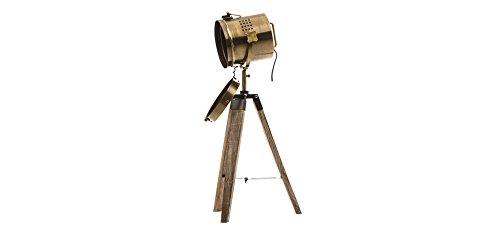 Lmpara-proyector-diseo-vintage-y-retro-de-metal-tipo-cobre-y-trpode-de-madera