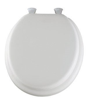 Commode Seat - Mayfair Soft Toilet Seat with Molded Wood Core and Easy-Clean & Change Hinges, Round, White, 13EC 000
