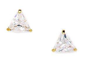 14k Yellow Gold 6x6mm Trillion Shape Cubic Zirconia Screw-Back Earrings (Trillion Shape Gold)