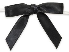 6ct. Pre-Tied Black 2'' Satin Gift Bows Wire Ties Ready-to-Use 3/8'' Ribbon by shanna-bananapeels