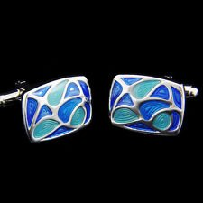Blazers Proforms Costumes - Blue Melody Enamel Cufflinks buttons For Men Business Shirt ()