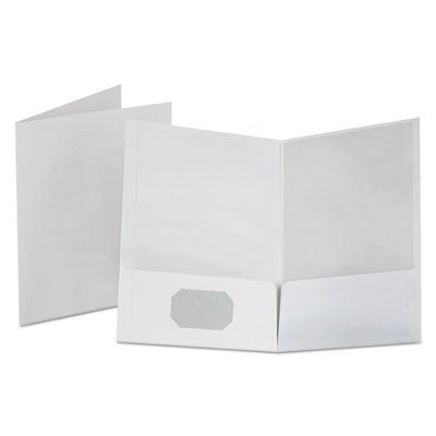Linen Finish Twin Pocket Folders, Letter, White, 25/Box, Sold as 2 Box, 25 Each per Box