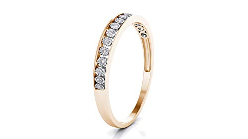 Buy Jewels 10k White Gold 3mm Channel Set Diamond Band Wedding Anniversary Ring (0.15 ct I-J Color Clarity Si2) (Rose-Gold, -