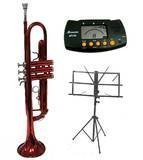 Merano B Flat Red / Silver Trumpet with Case+Mouth Piece+Valve Oil+Metro Tuner+Black Music Stand by Merano