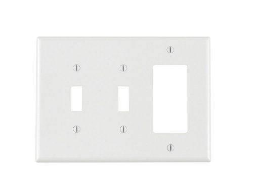 Leviton Decora Nylon 3 Gang - Leviton PJ226-W 3-Gang 2-Toggle 1-Decora/GFCI Combination Wallplate, Midway Size, White
