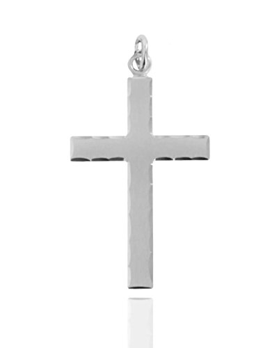 Men's Sterling Silver Etched Matte Cross with Lord's Prayer - Pendant Only (Brushed Cross Pendant)