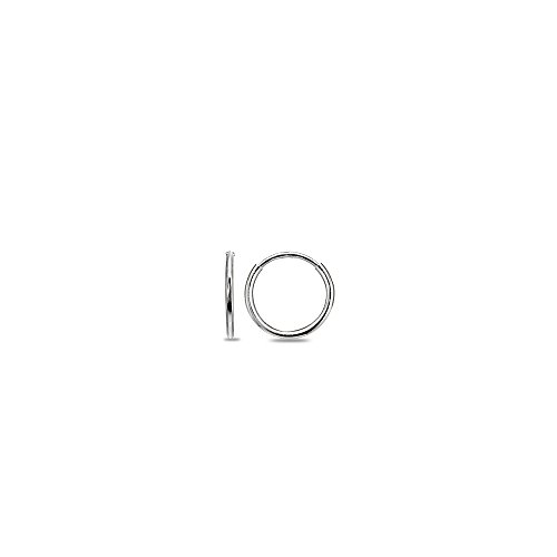 14K White Gold Tiny Small 1.2mm Round Thin Lightweight Unisex Endless Hoop Earrings, 10mm (white-gold) (Ring Lightweight White)