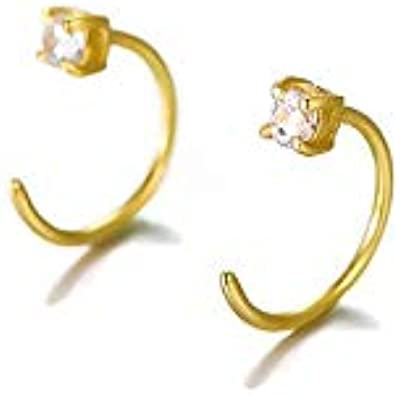 Simple Gold Earring Gift for Wife 14k SOLID Gold Threader Earrings