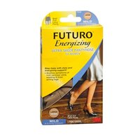 FUTURO Energizing Ultra Sheer Pantyhose For Women Brief Cut Lace Panty Mild Large Nude 1 Pair (Pack of 3) by 3M (Image #1)
