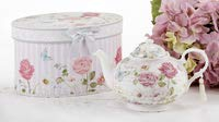 Delton Products Pink Grace Pattern Porcelain Teapot with Matching Keepsake Box ()