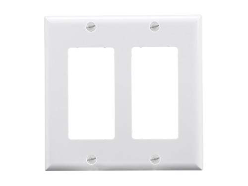- Monoprice 2-Gang Dcor Wall Plate - White for Home,Office, Personal Install