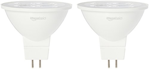 AmazonBasics 50 Watt Equivalent, Bright White, Dimmable, MR16 LED Light Bulb | 2-Pack