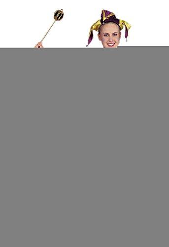 Mardi Gras Purple/Yellow Satin Jester Adullt Costume Size Standard (Jester Costume)