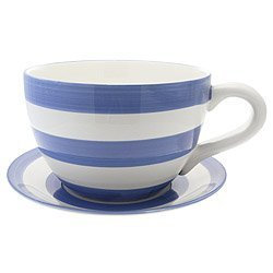 Lifestyle Products, Blue Stripe Tea Cup & Saucer Planter, 16.5 x ...