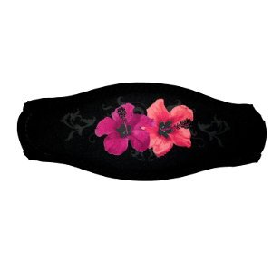 Black Strap Cover with Pink Hawaiian Flowers for Scuba or Snorkel Mask