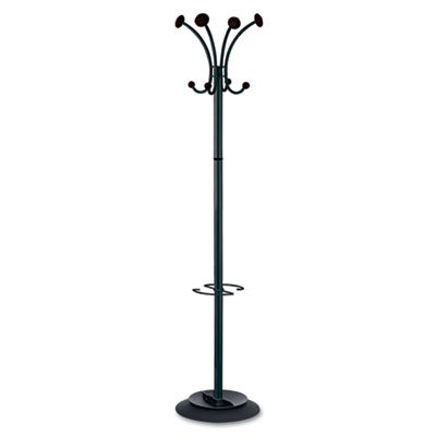 Alba Classic Floor Coat Rack/Stand with 4-Double Pegs, Black (PMVIENAN)