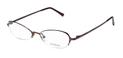 Vera Wang V100 Womens/Girls Cat Eye Half-rim Light Weight Beautiful Eyeglasses/Spectacles (49-17-135, Wine) - Ophthalmic Glasses