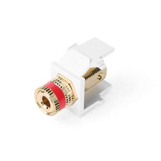 - Leviton 40833-BWR White Binding Post Adapter, Gold-Plated, Red Stripe
