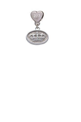 - Crown - Oval Seal Custom Year Stainless Steel Heart Bead Charm
