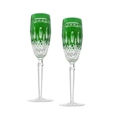 Waterford Crystal Clarendon Emerald Flute Pair by Waterford