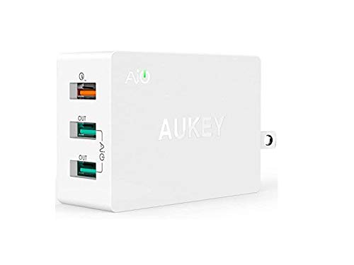 Aukey PA T2 3 Port USB Wall Charger with Qualcomm Quick Charge 2.0  amp; Ai Power Smart Charging  Black