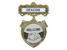 Badge-Deacon Welcome-Pin Back-Shield-Brass