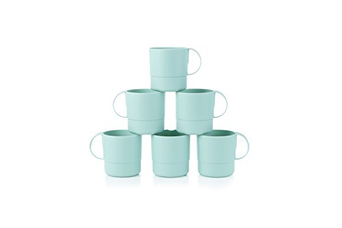 Amuse- Eco Friendly Sturdy Unbreakable & Stackable Mugs for Water, Coffee, Milk, Juice, Tea- Set of 6-11 oz (Mint)
