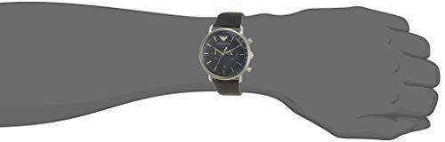 Emporio Armani Men's Dress Stainless Steel Quartz Watch with Leather Calfskin Strap, Blue, 22 (Model: AR11105)