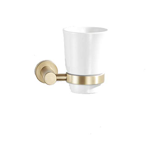 AQJD Stainless Steel & Ceramics Toothbrush Holder Wall Mounted Brushed Gold Finish