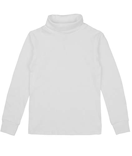 Spring&Gege Baby Girls Solid Turtleneck Cotton T-shirt Kids Base Layer Tops Size 2-3 Years White ()